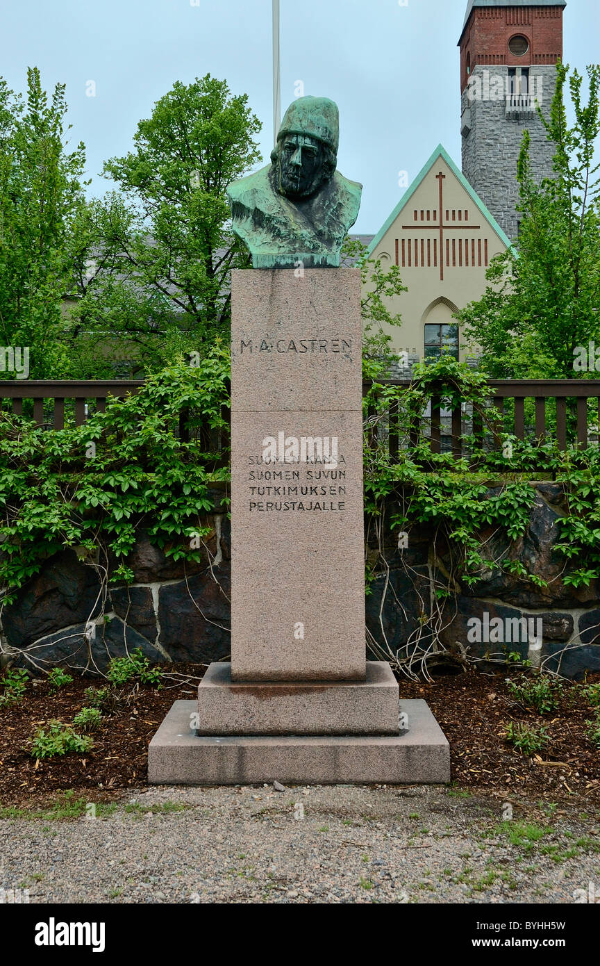 A  statue of Matias Aleksanteri Castrén the first professor of the Finnish language at the University of Helsinki - Stock Image