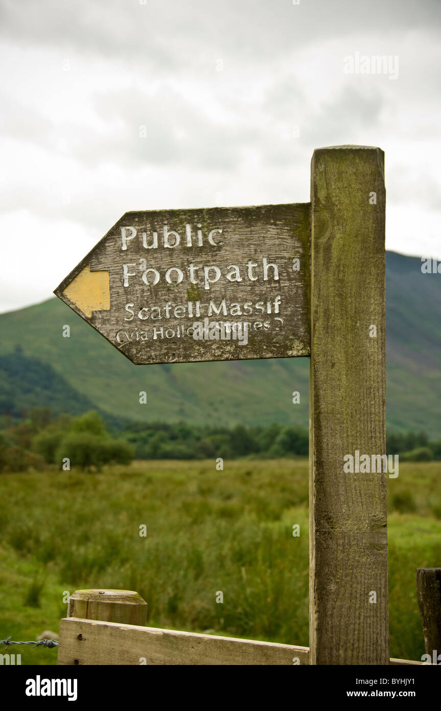 Scafell Massif sign showing public footpath - Stock Image