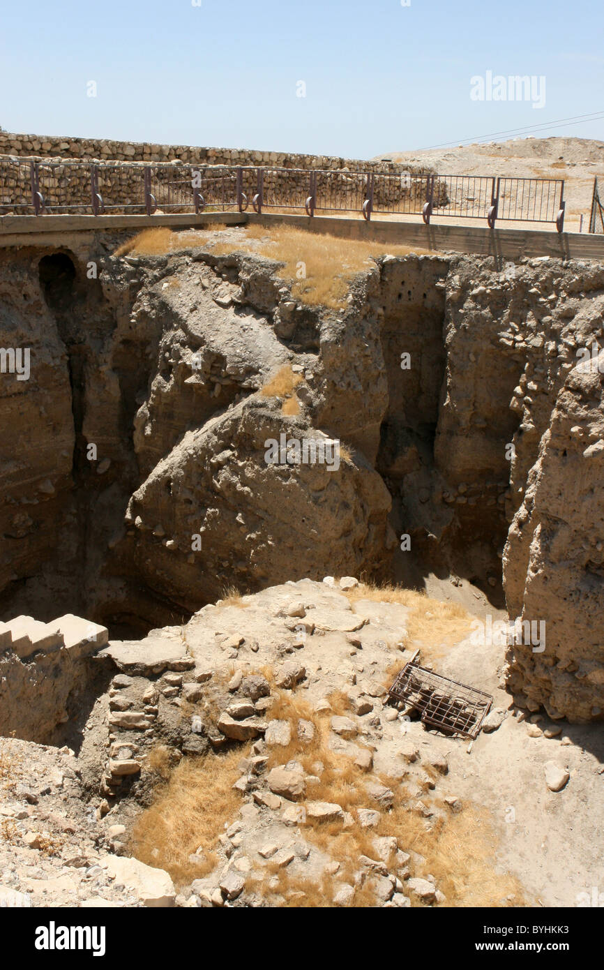Excavated ruins of the ancient city of Old Jericho, Israel. - Stock Image