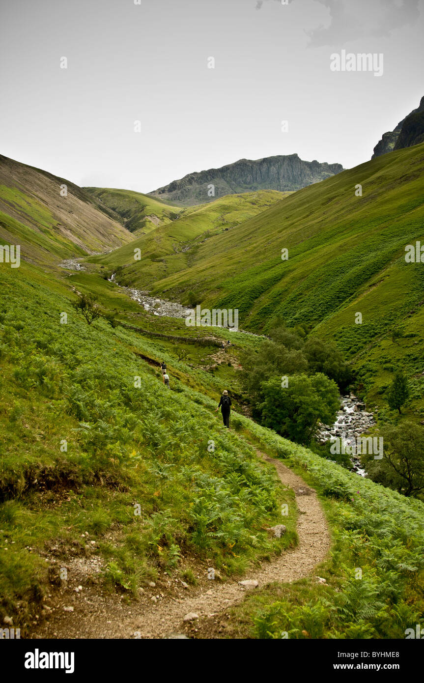 Scafell Pike ascent route - Stock Image