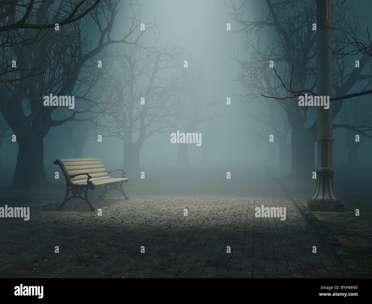 lonely bench in misty park - Stock Image