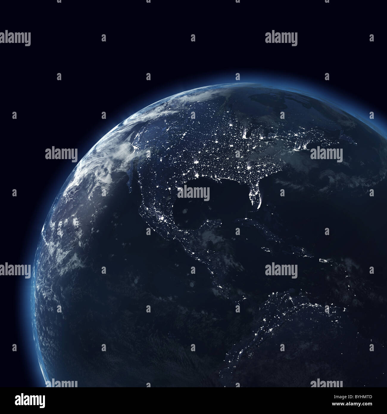 Map Of Usa At Night.Night Globe With City Lights Detailed Map Of Atlantic America Usa