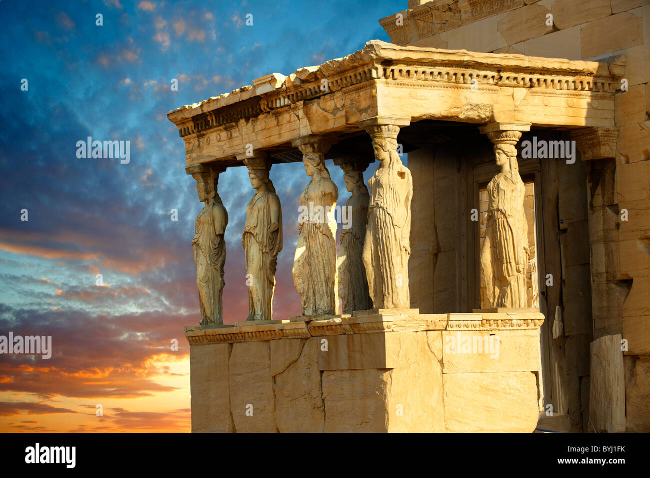 The Porch of the Caryatids. The Erechtheum, the Acropolis of Athens in Greece. Stock Photo