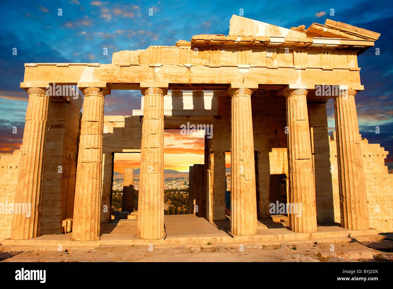 The Propylaea, The monumental gateway to the Acropolis, Athens, Greece - Stock Image