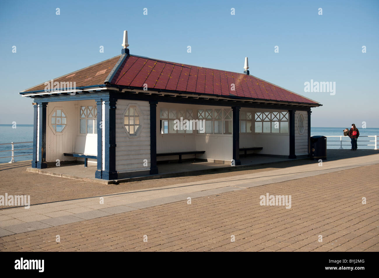 The old Victorian public shelter , subject of a CADW  preservation order, on the promenade at Aberystwyth Ceredigion - Stock Image