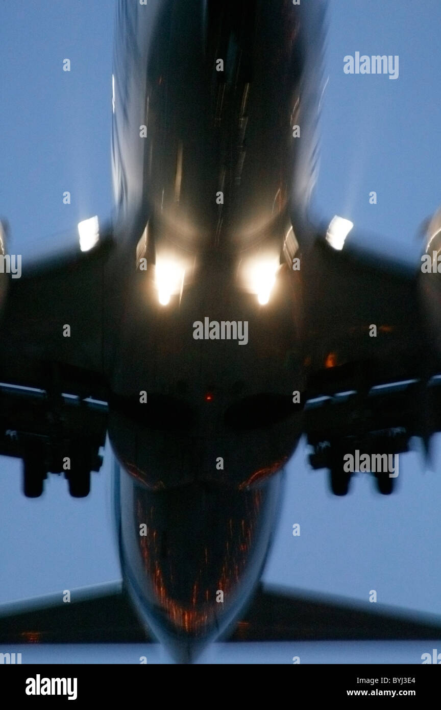 close up of plane taking off or landing - Stock Image