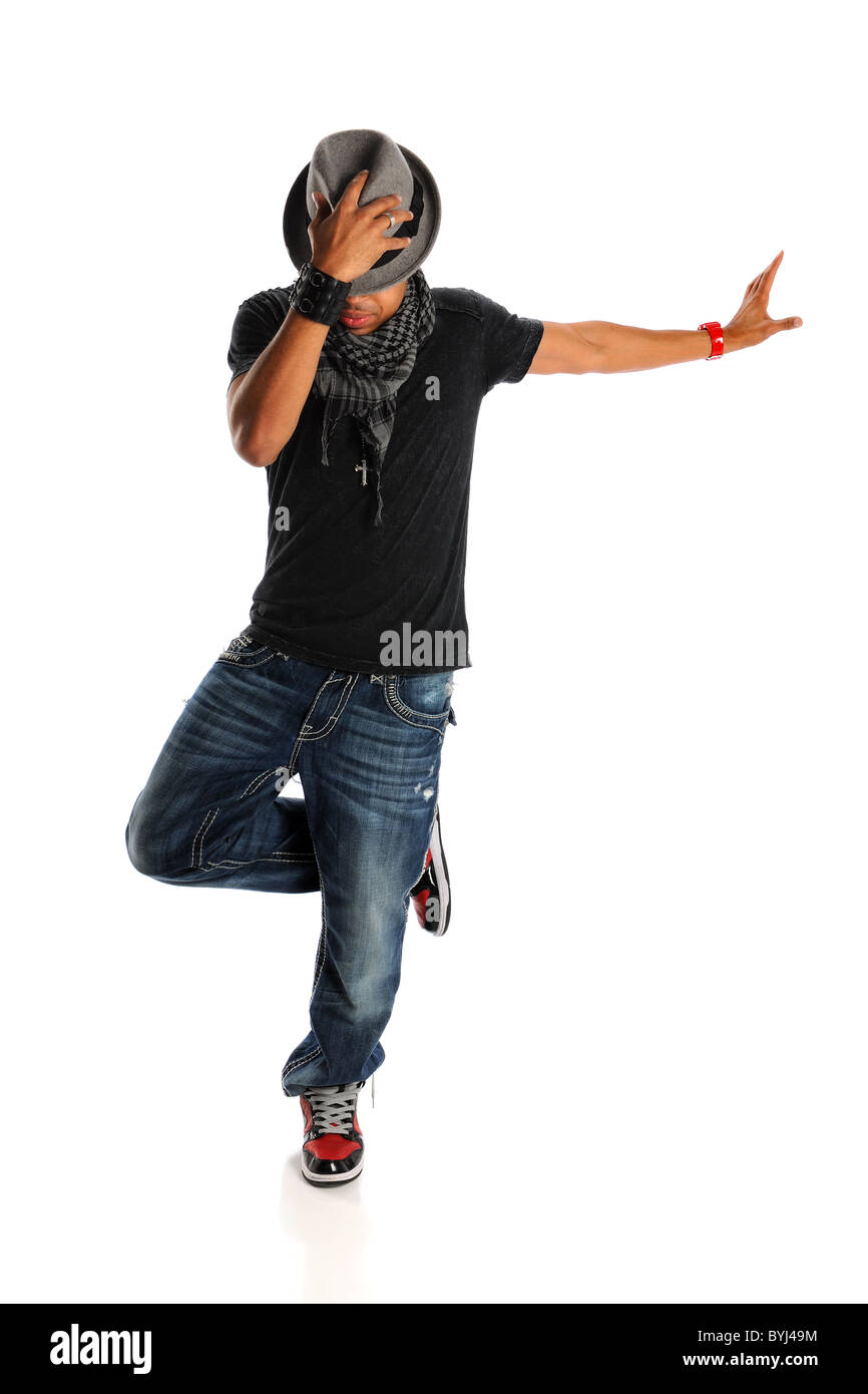 African American hip hop dancer isolated over white background Stock Photo