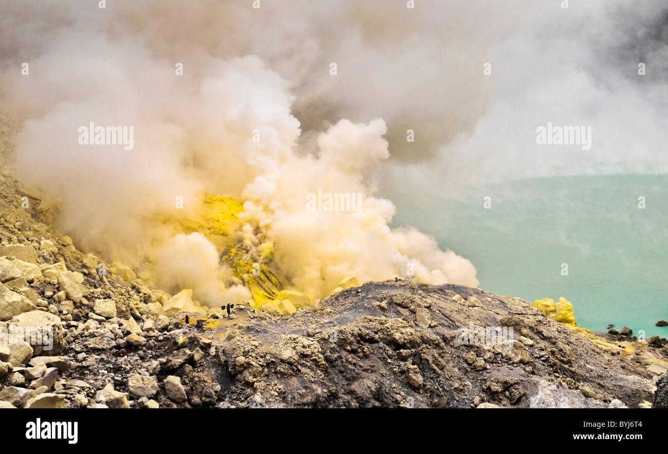 Sulfurous fumaroles in Ijen crater. Java. Indonesia - Stock Image