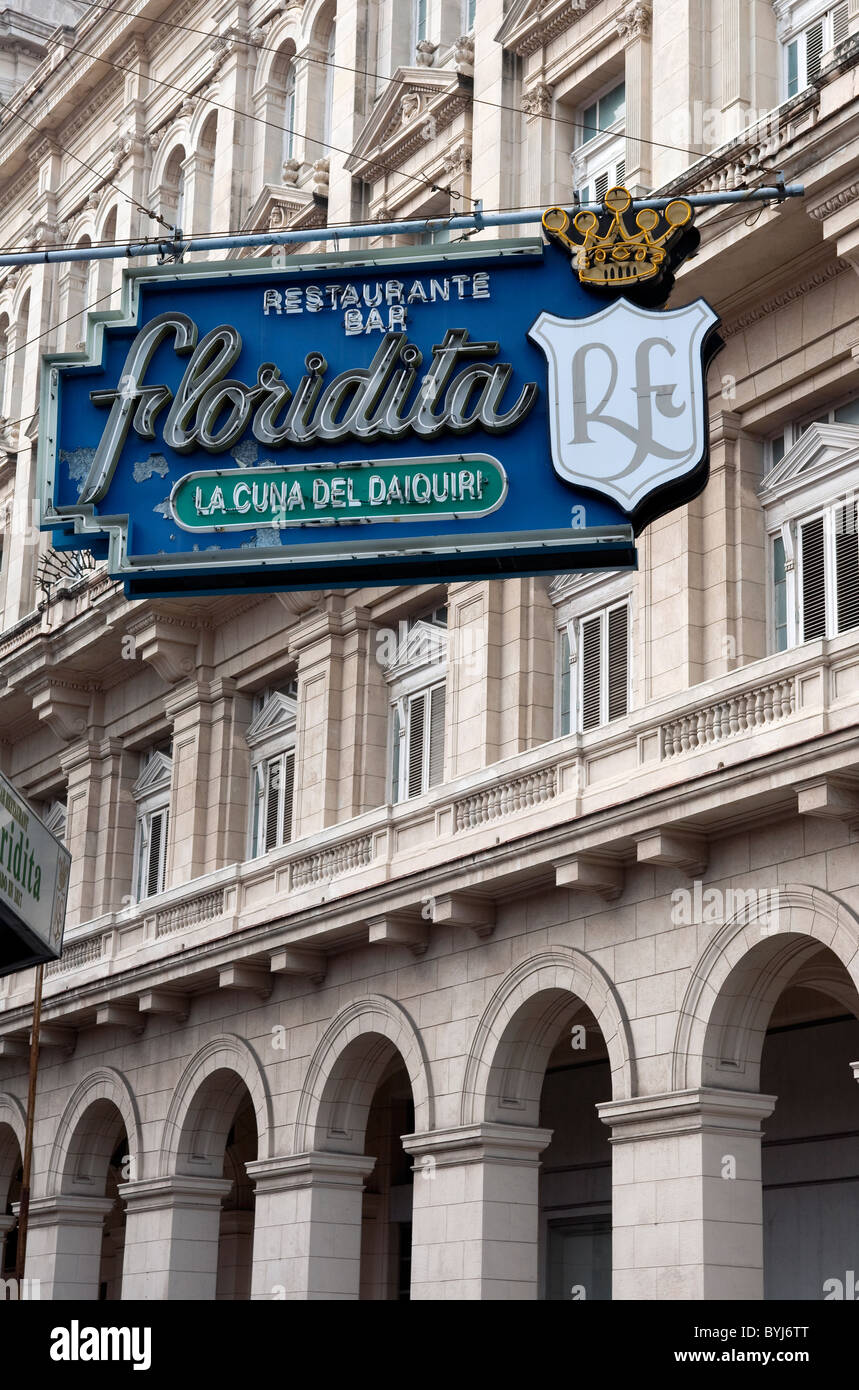 Floridita sign on classic Art Deco building at Obispo 557, Habana Vieja, Havana, Cuba - Stock Image