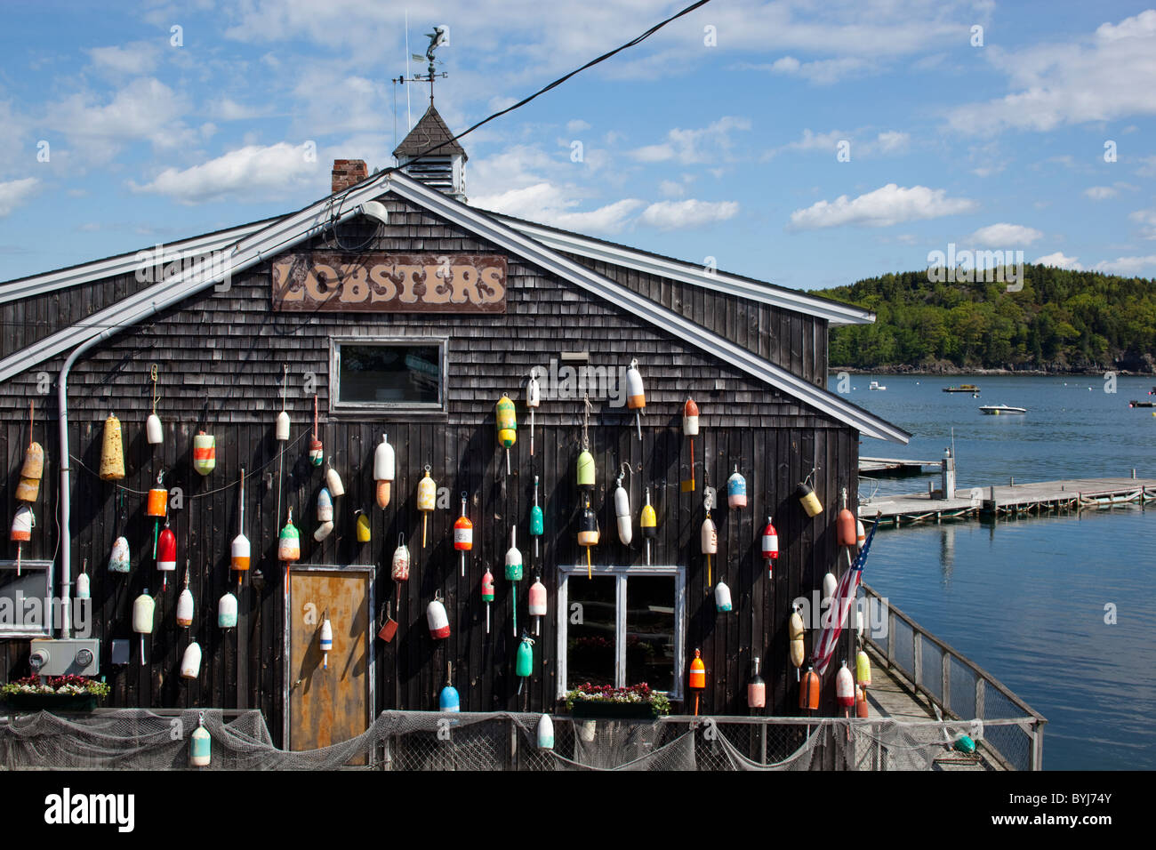 Usa Maine Bar Harbor Lobster Trap Floats On Side Of Seafood Stock