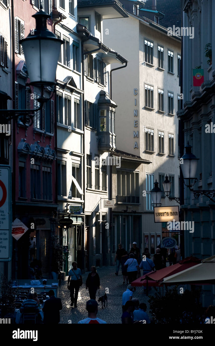 A street in the Old Town, Zurich, Switzerland - Stock Image