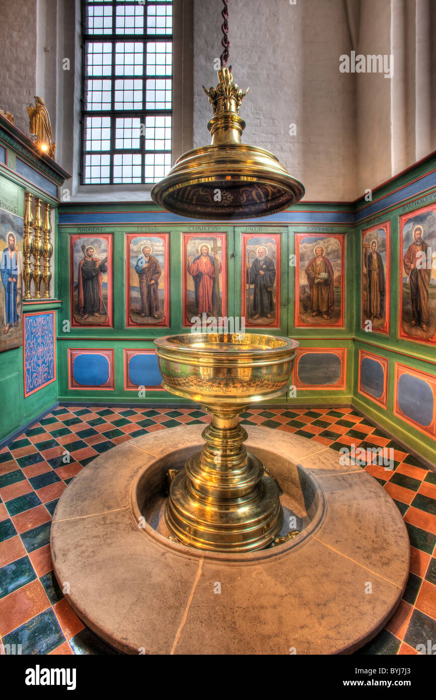 The baptismal font in Elsinore Cathedral - Stock Image