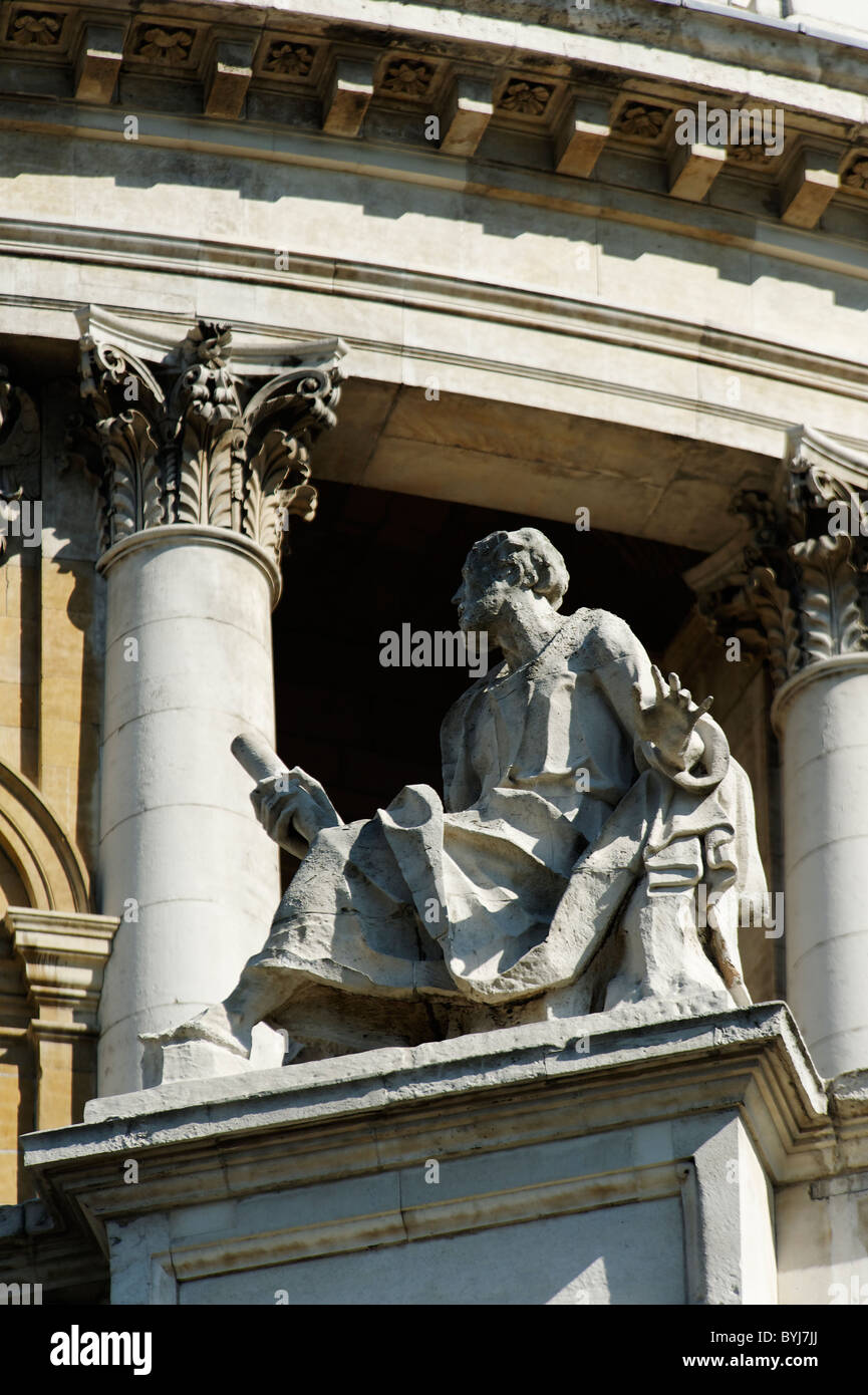 Statue of St Paul at St Paul's Cathedral London - Stock Image