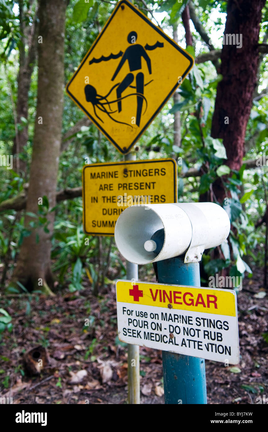 Marine stinger warning sign Queensland Australia - Stock Image
