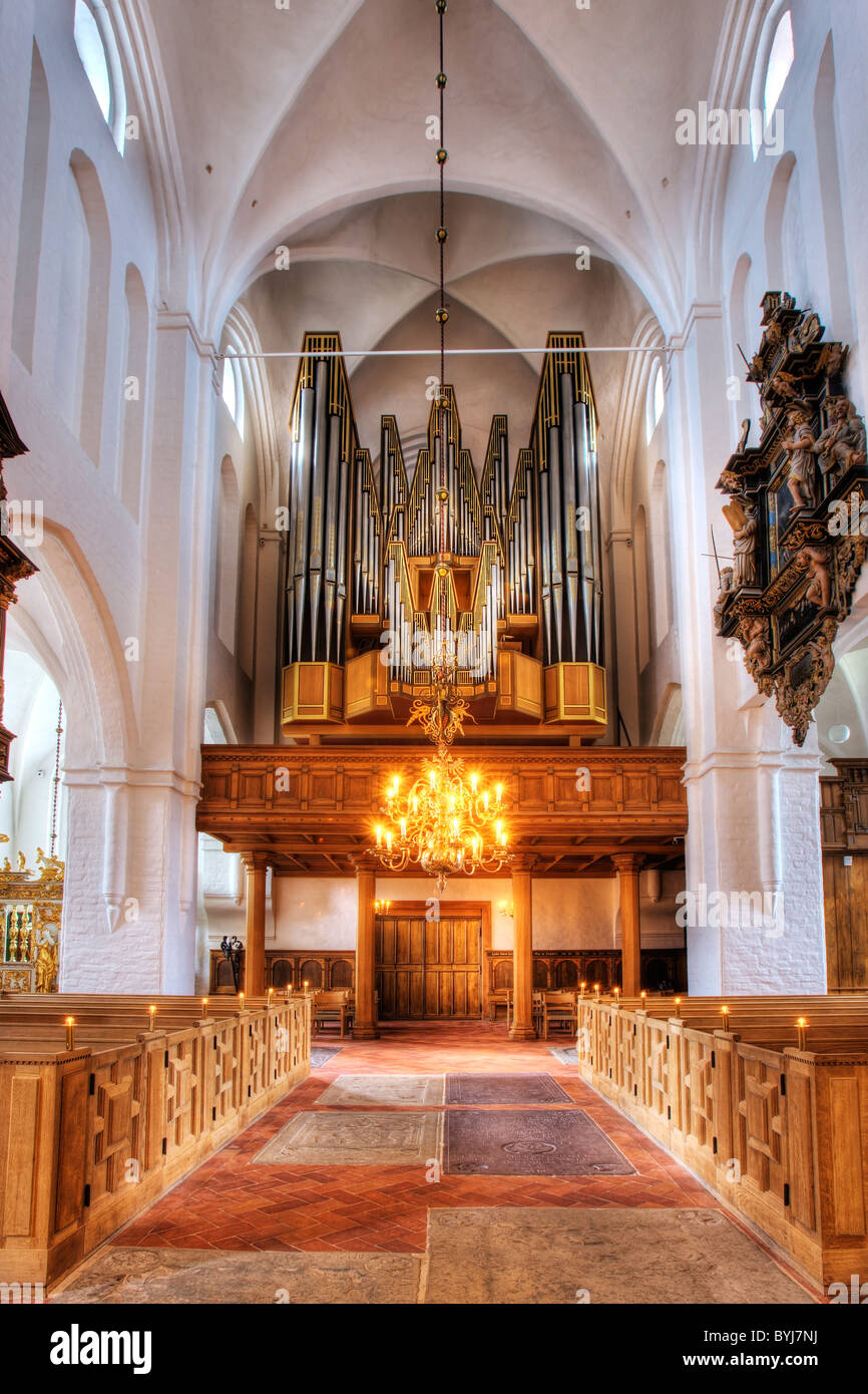 The imposing organ in Elsinore Cathedral - Stock Image