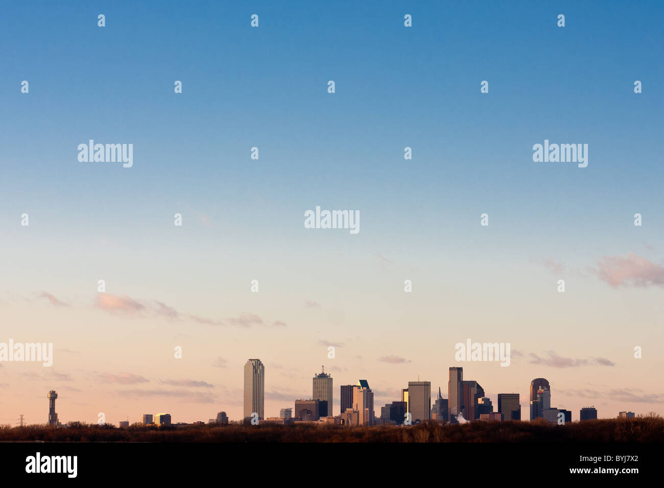 Wide angle view of Dallas, Texas skyline from the south at the I-45 Interstate bridge over the Trinity River in - Stock Image
