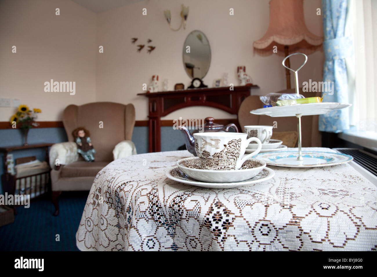A reminiscence room set in the 1960's at an elderly nursing care home England UK - Stock Image