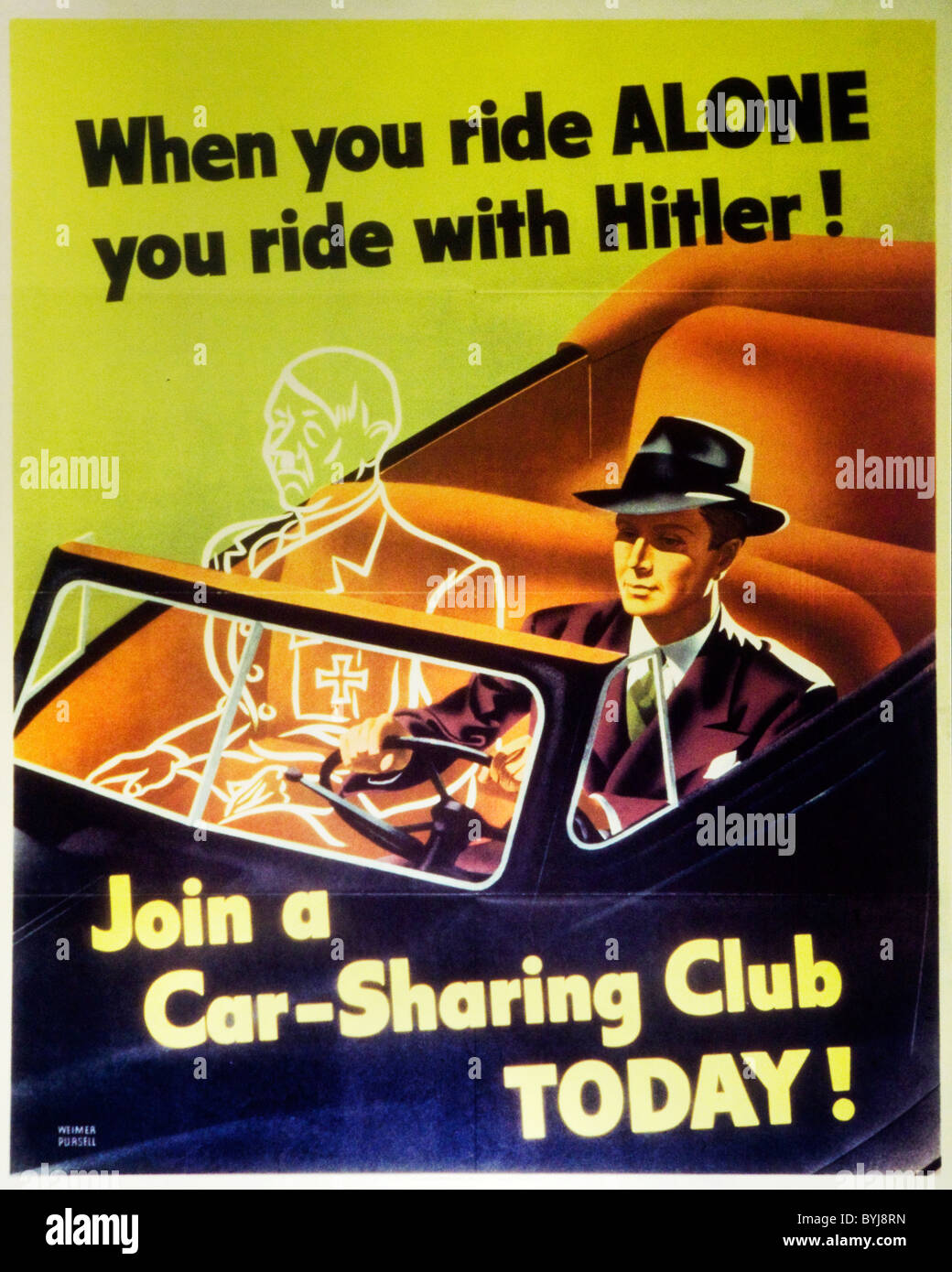 Vintage WWII propaganda poster - USA - Stock Image