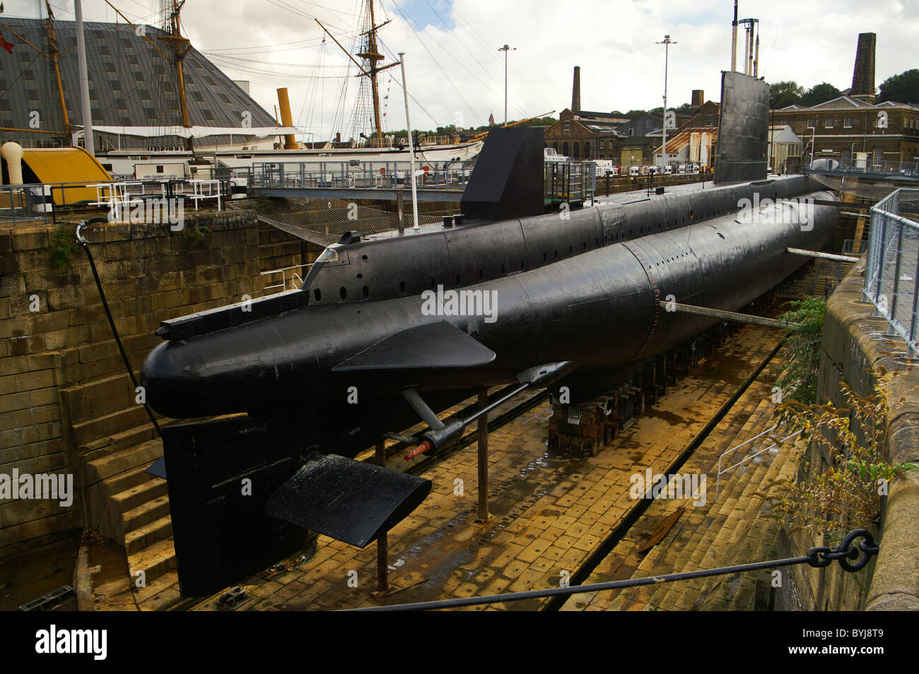 the submarine ex hms ocelot sits in a graving dock in chatham stock