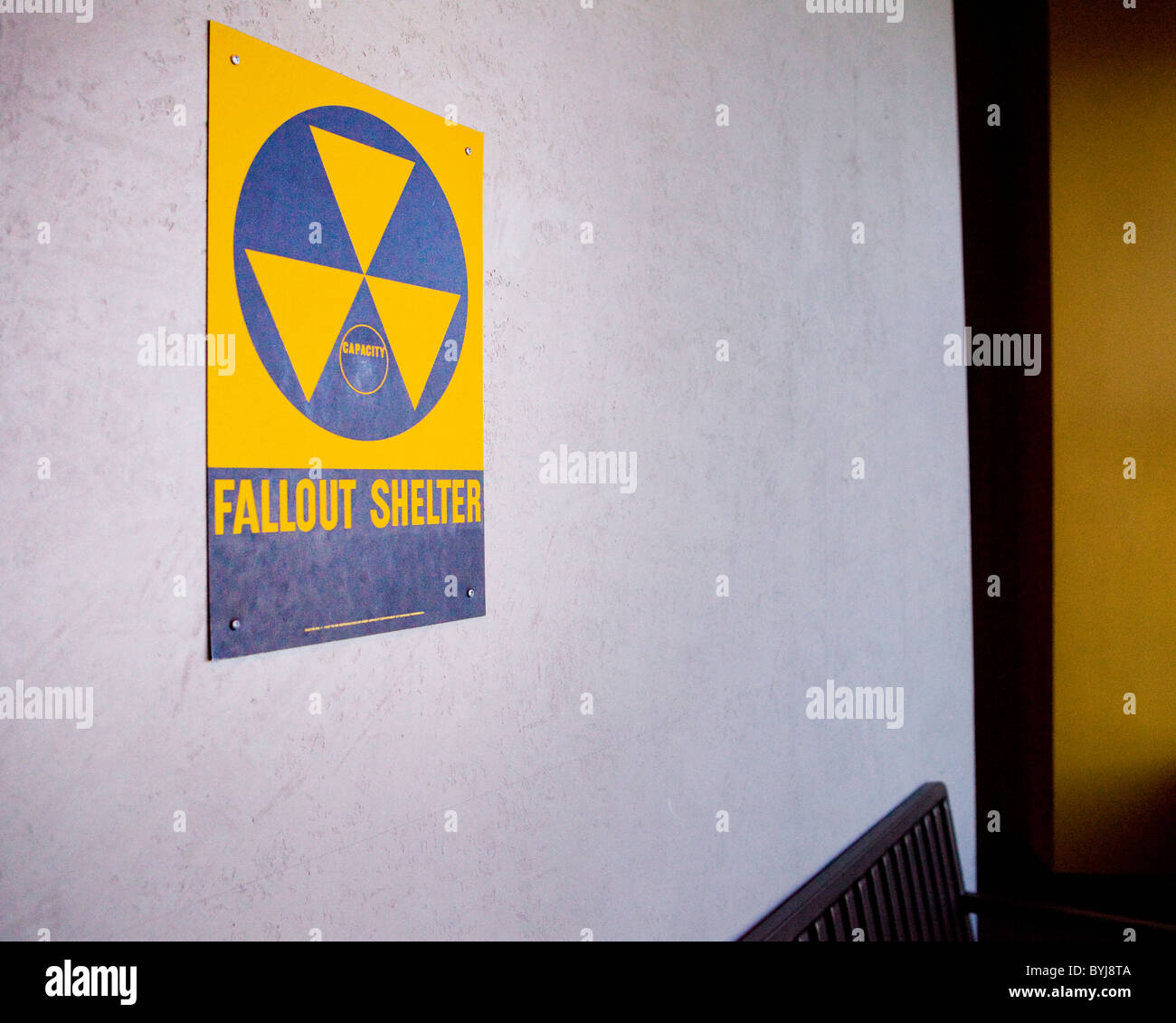 Fallout shelter sign on wall - USA Stock Photo