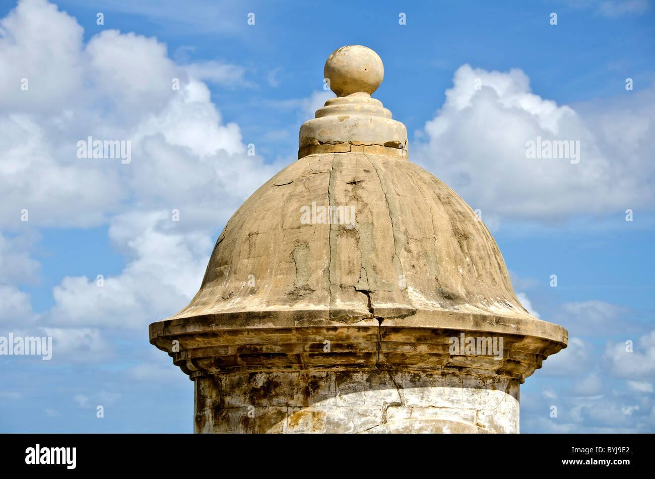Puerto Rico Old San Juan sentry box or garita showing top of iconic national symbol  at Fort San Cristobal - Stock Image