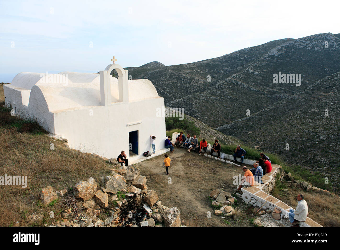 greece cyclades sikinos a religious festival at agios dimitrios church - Stock Image