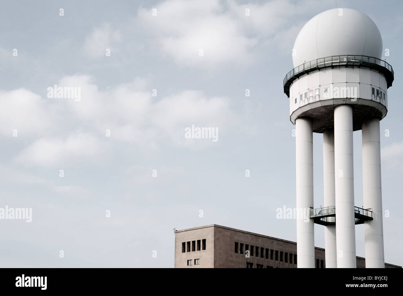 Historic buildings at new city public Tempelhofer Park on site of famous former Tempelhof Airport in Berlin Germany - Stock Image