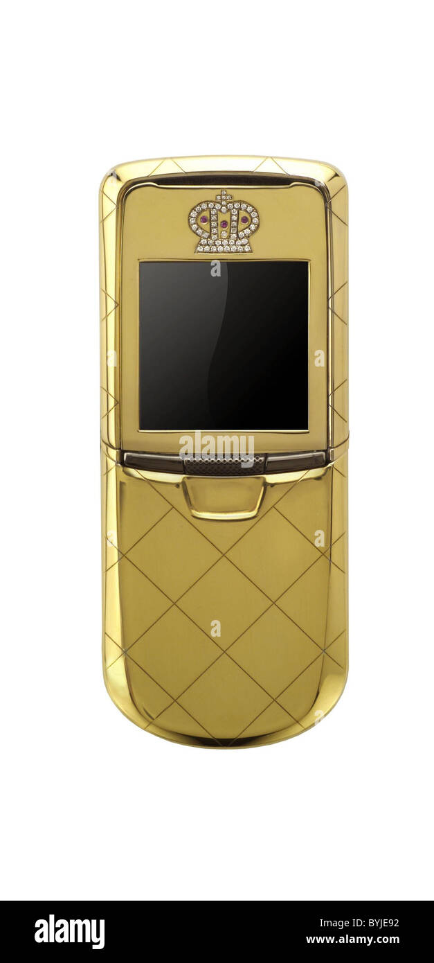 ISSE Monaco Phones - Nokia 8800 in Gold, Platinum and Diamonds The upcoming Nokia 8800 phones have been taken to - Stock Image