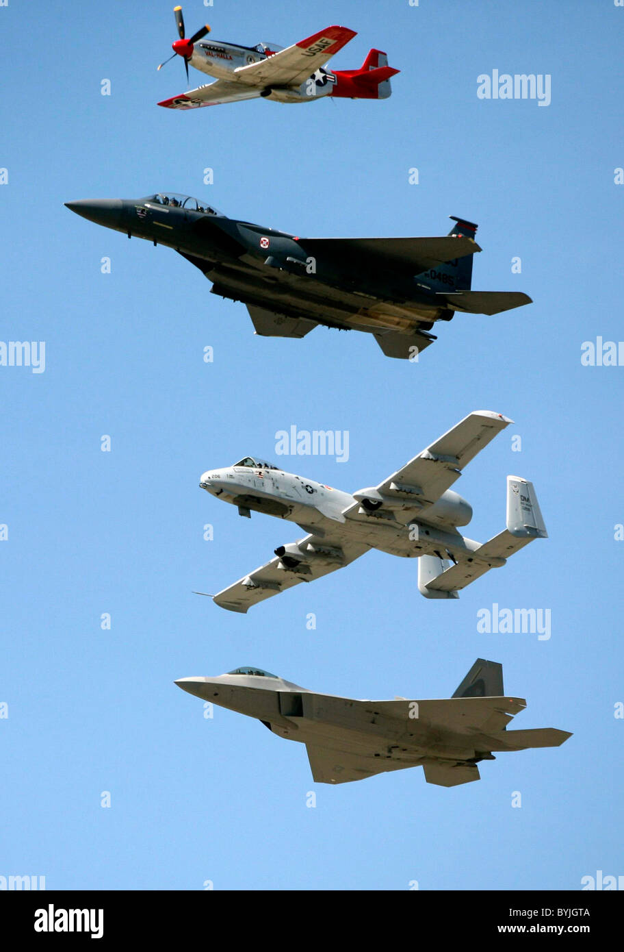 US Air Force heritage flight From top P-51, F-15 Strike Eagle, A-10