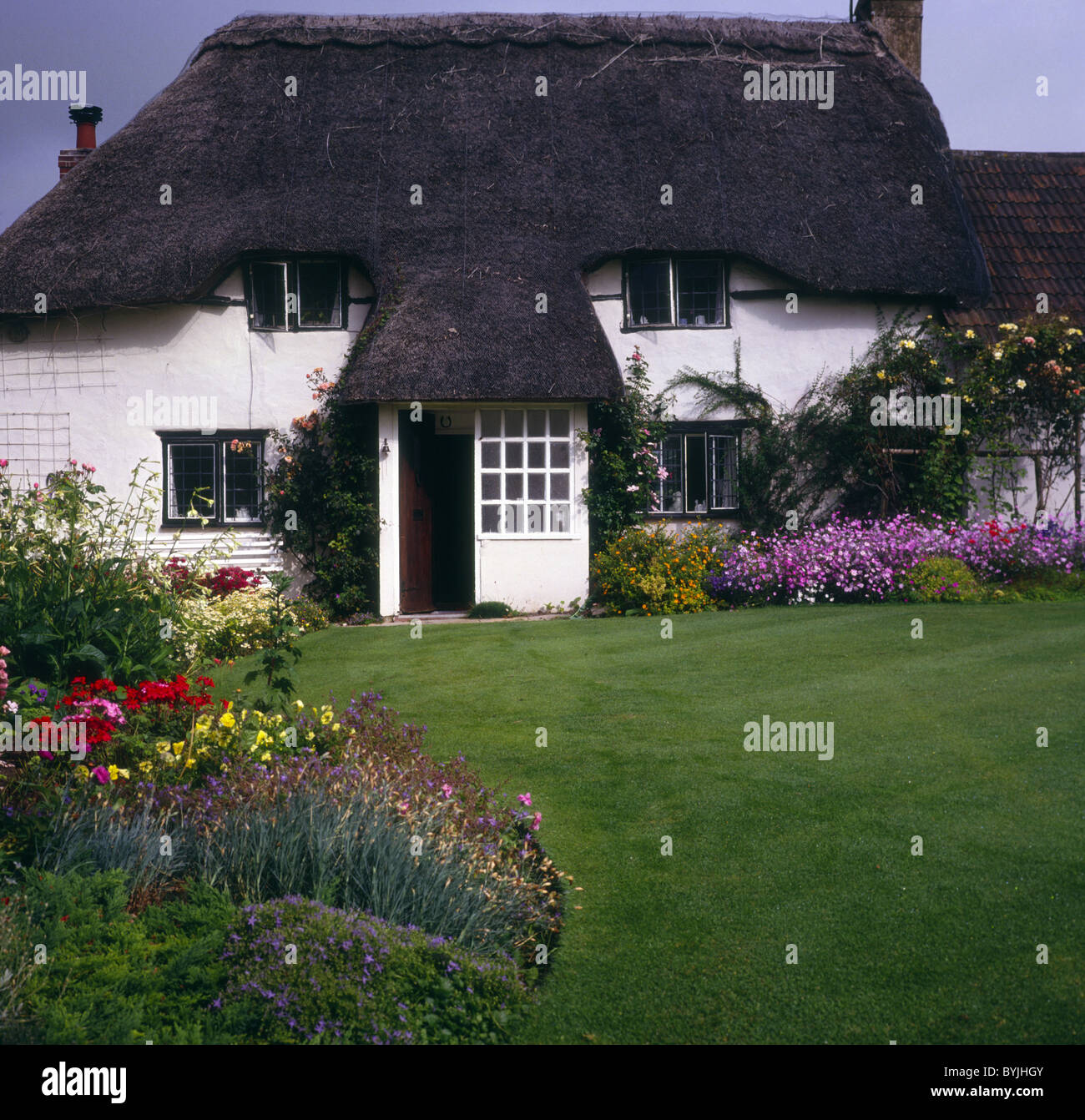 Country cottage garden, Wiltshire, Englandnd - Stock Image