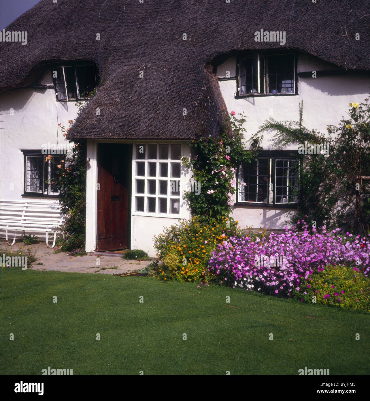 Country cottage garden, Wiltshire, England - Stock Image