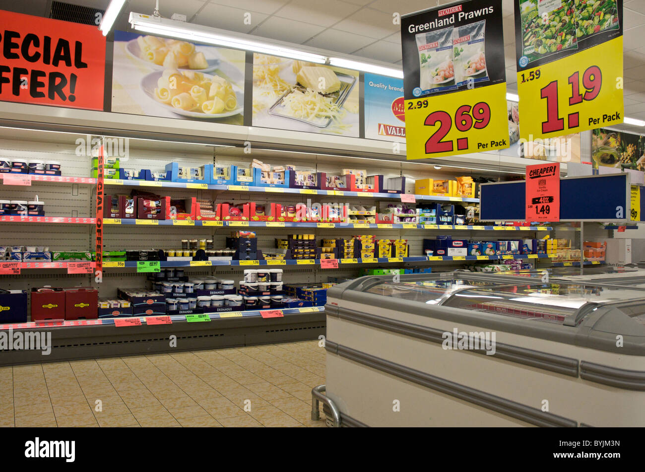 Interior of large store showing the wide range of merchandise available. This is an interior of Lidl's. - Stock Image