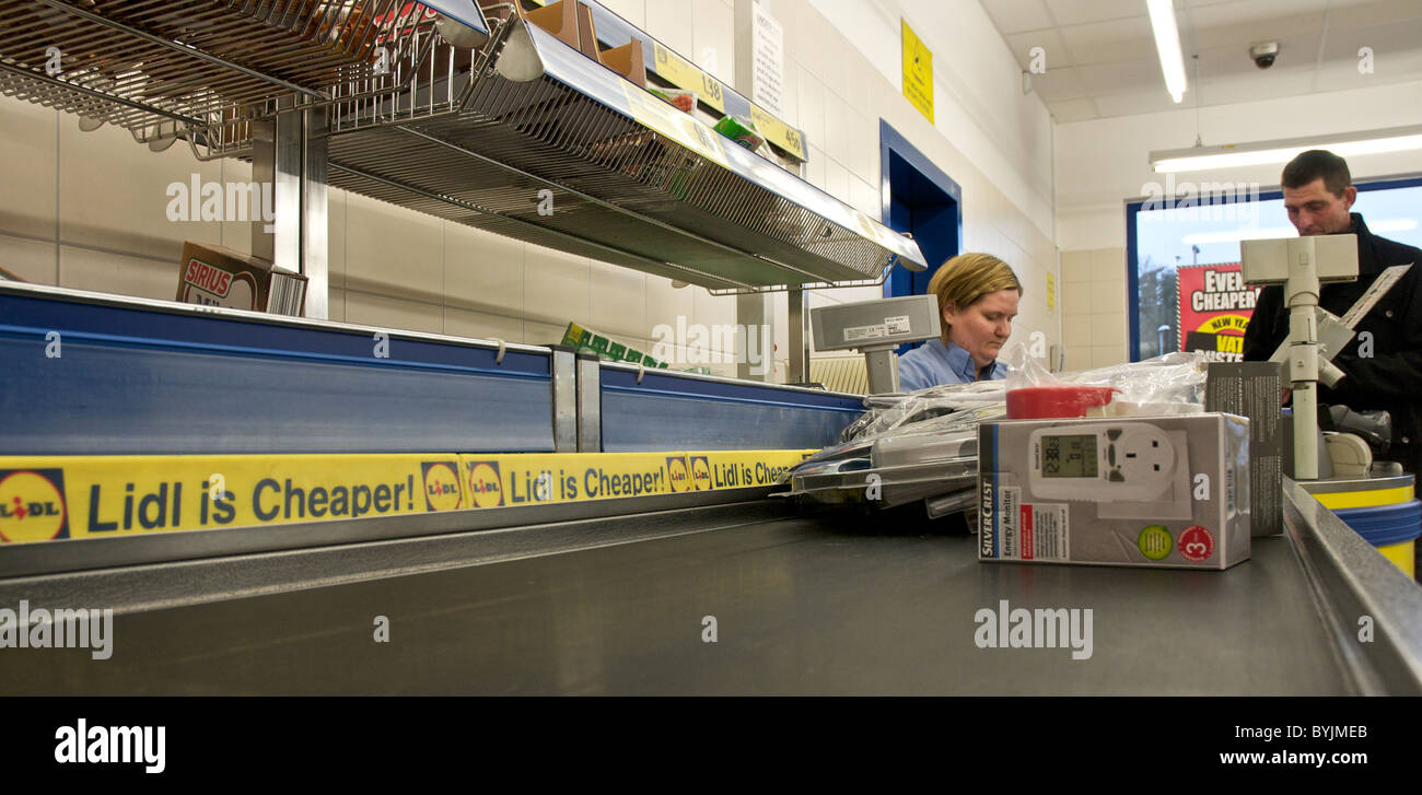 Interior of large store showing the wide range of merchandise available. This is the checkout or tills area in a - Stock Image