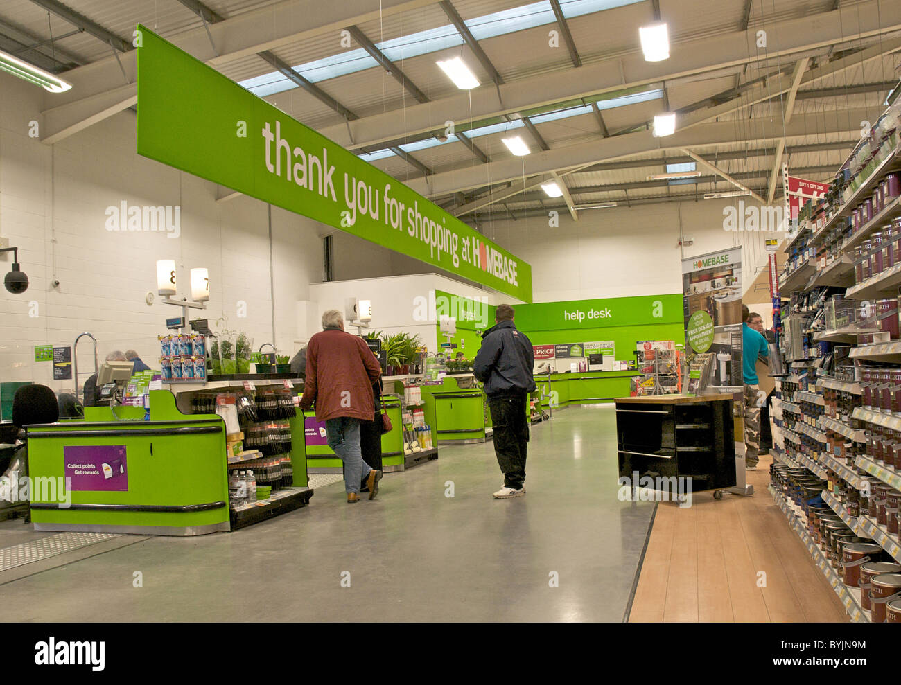 Interior Of Large Store Showing The Wide Range Of Merchandise Available.  This Is The Checkout Area In A Major DIY Superstore