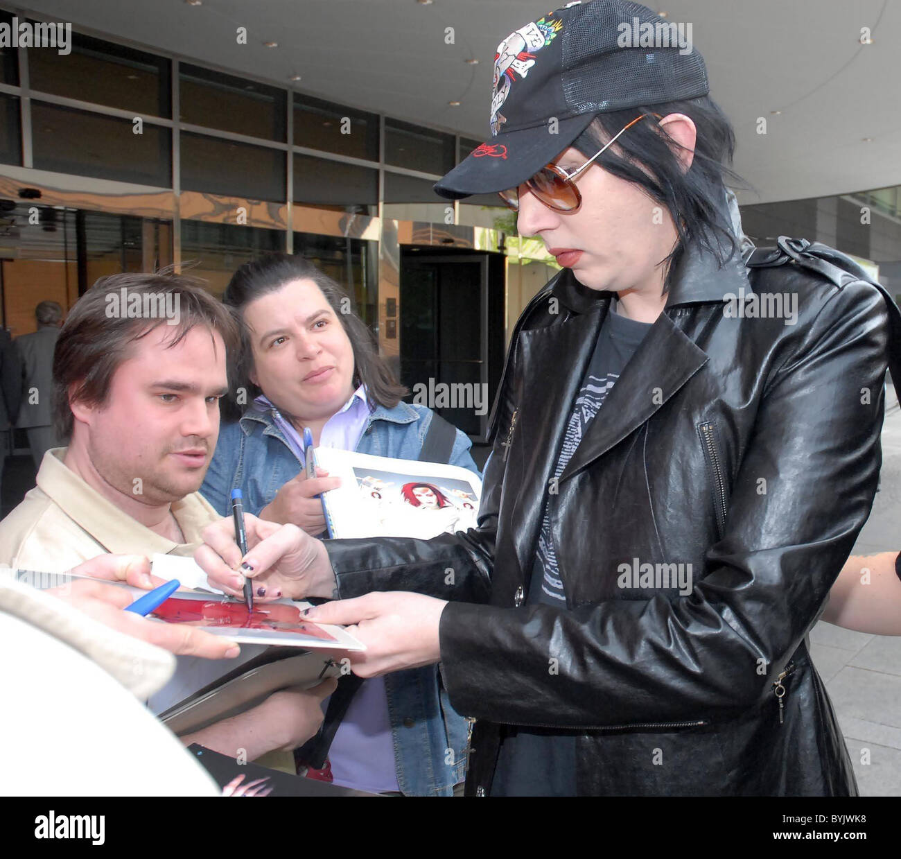 Marilyn Manson without make-up leaving the Hyatt Hotel and signing autographs Berlin, Germany - 23.04.07 Chuck Yunck/ Stock Photo