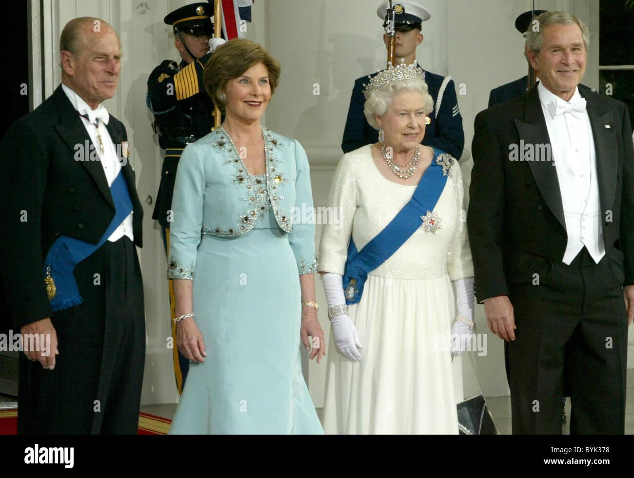 Prince Philip The Duke Of Edinburgh Laura Bush Queen Elizabeth Ii