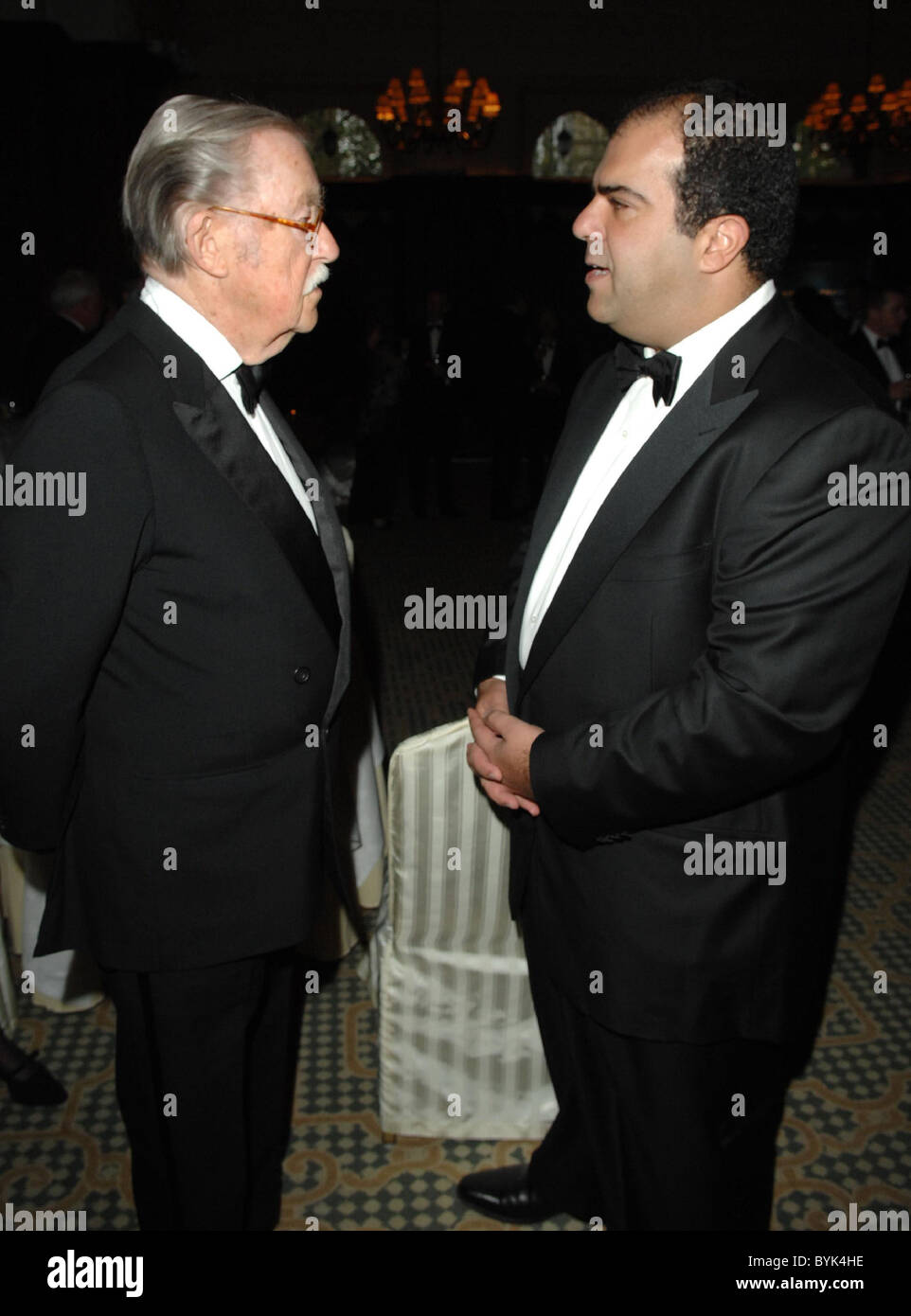 Alan Whicker and Stelios Haji-Ioannou Airline of the Year Awards held at the Landmark Hotel London, England - 16.04.07 - Stock Image