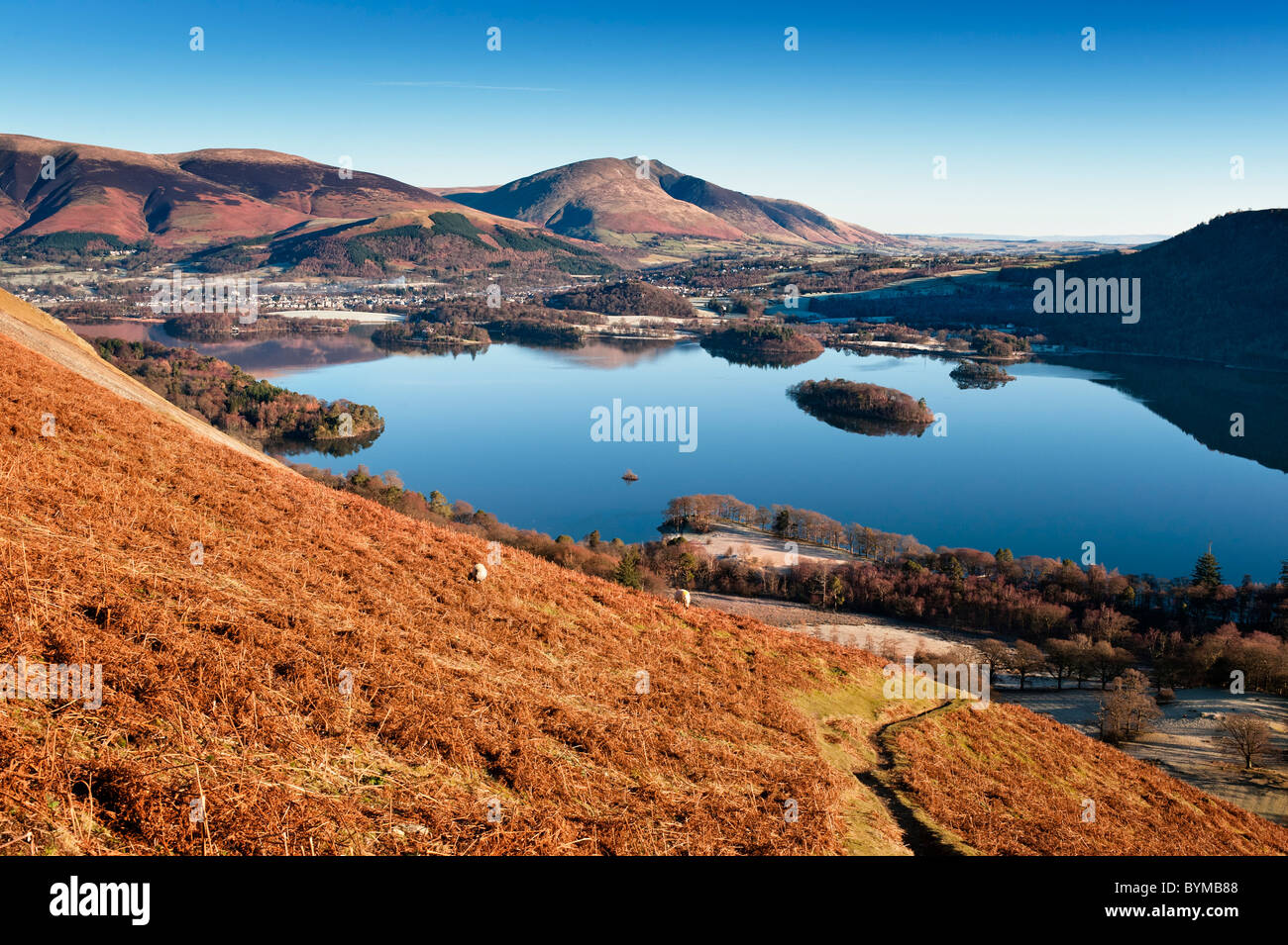 Derwent Water and Blencathra viewed from a path leading up Catbells. - Stock Image