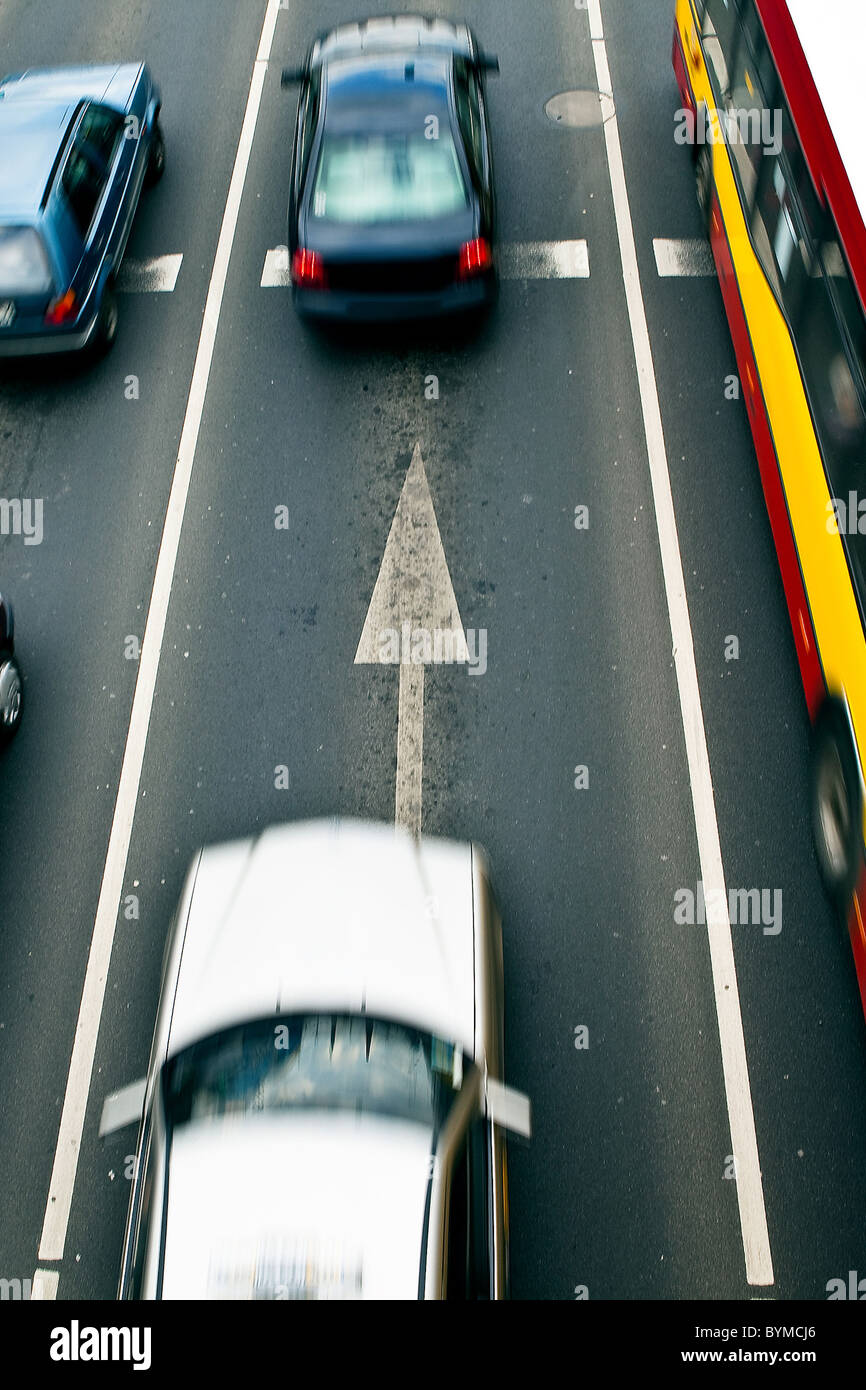 Cars in motion blur on a street of Wroclaw - city with the biggest traffic jams in Europe - Stock Image
