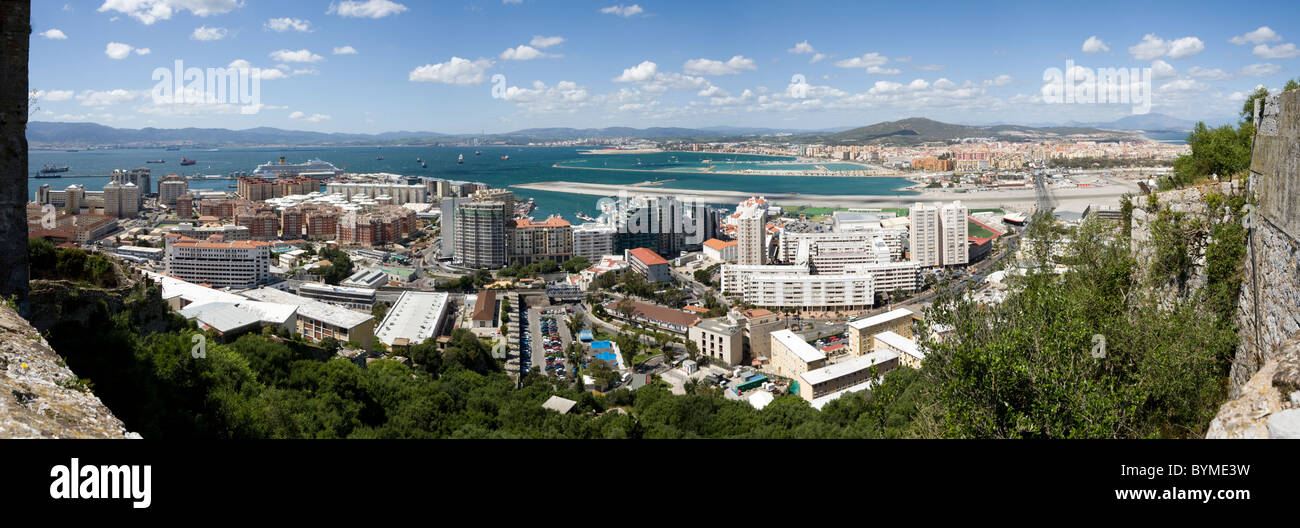 Looking over Gibraltar airport runway, city centre development & building / buildings, towards Spain: from the - Stock Image