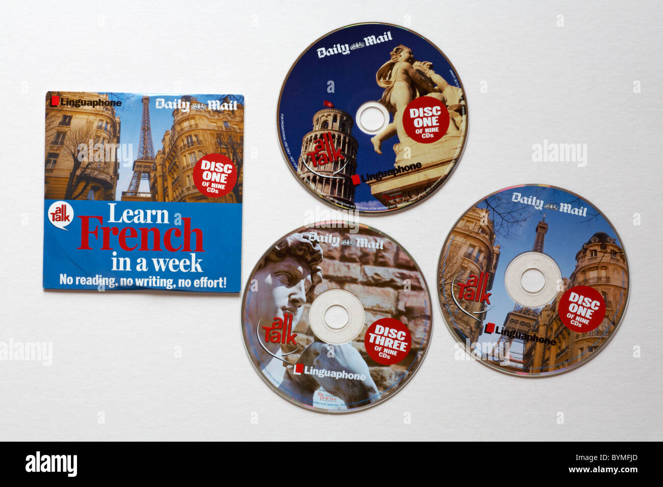Free language CDs given away with the Daily Mail - Stock Image