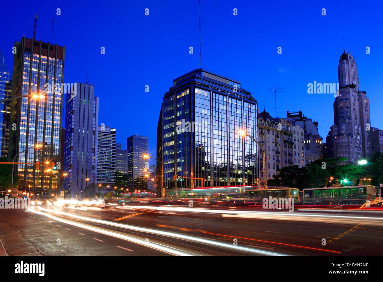 Libertador Avenue, at plaza San Martin (San Martin square). Retiro, Buenos Aires. - Stock Image