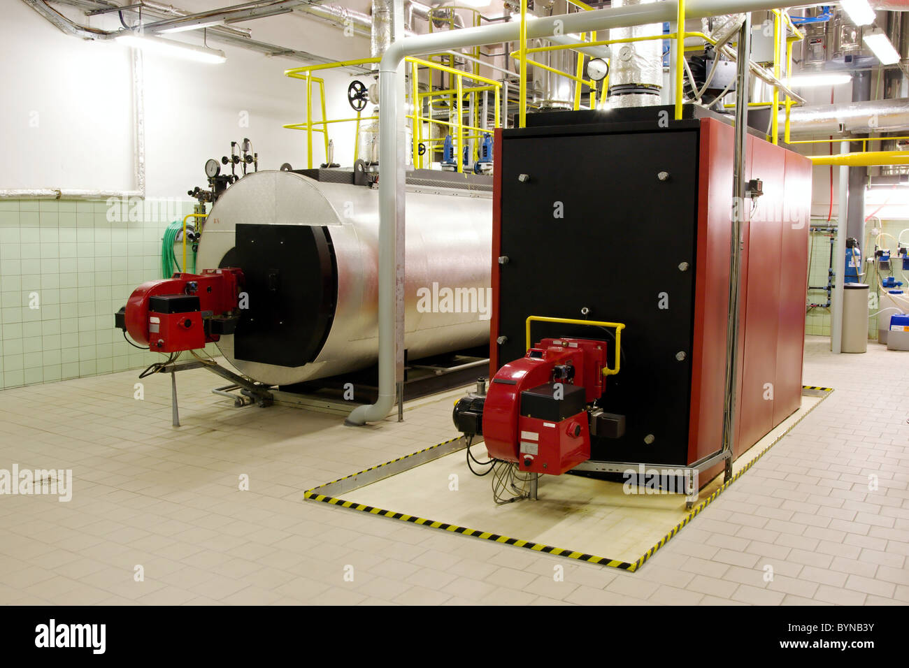 Gas boilers in gas boiler room for steam production Stock Photo ...