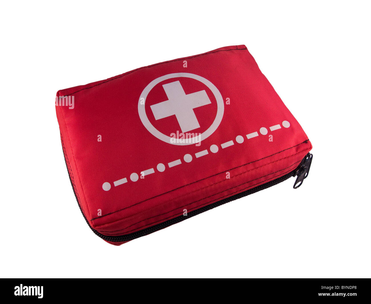 Red first aid kit isolated on white - Stock Image
