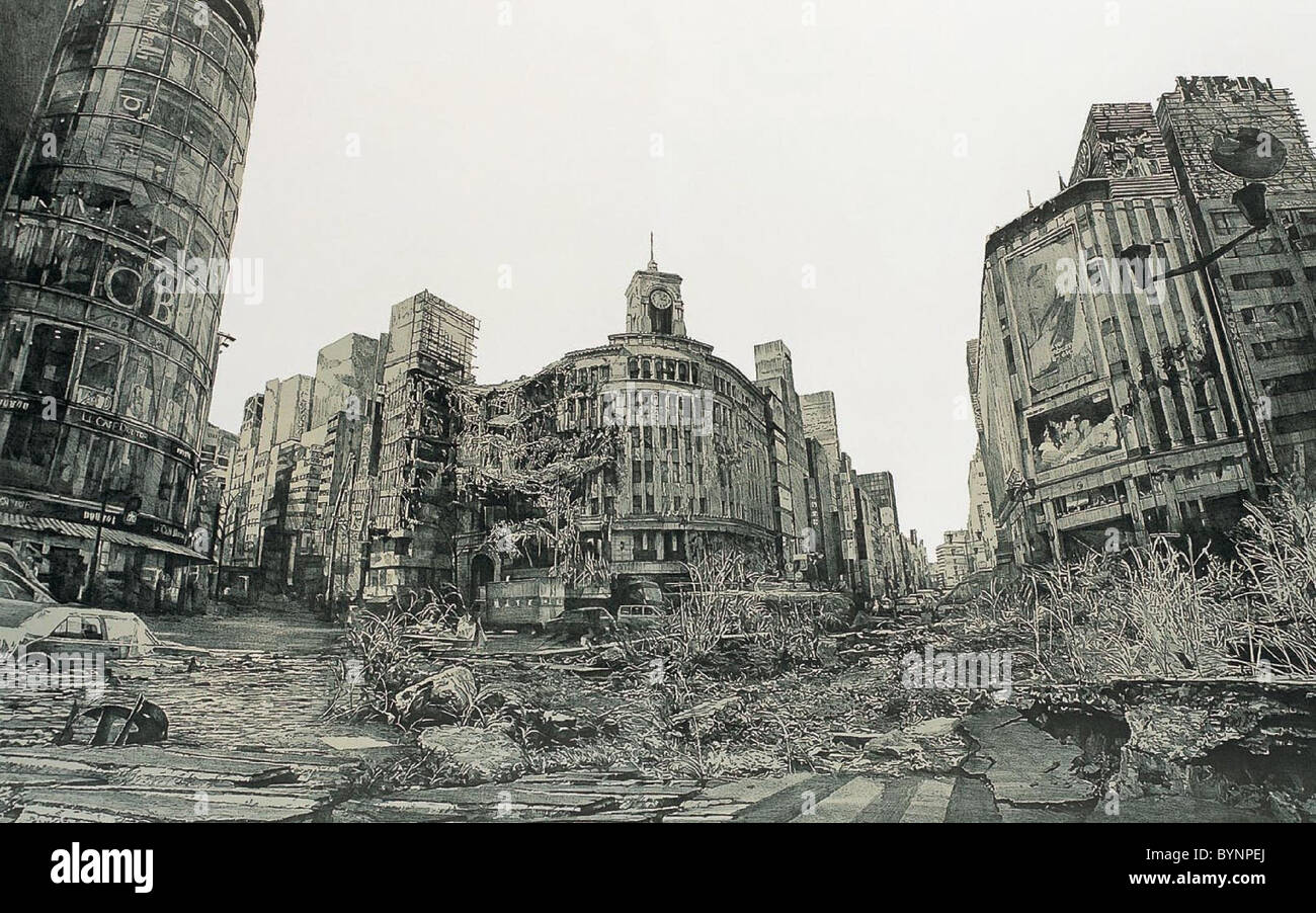 Post-Apocalyptic Tokyo In his Neo-Ruins series Hisaharu Motoda depicts a post-apocalyptic Tokyo, where familiar - Stock Image