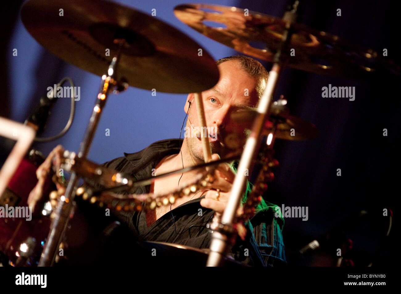 The drummer Frank van Essen with the Celtic Rock band Iona in concert, the UK 2010 - Stock Image