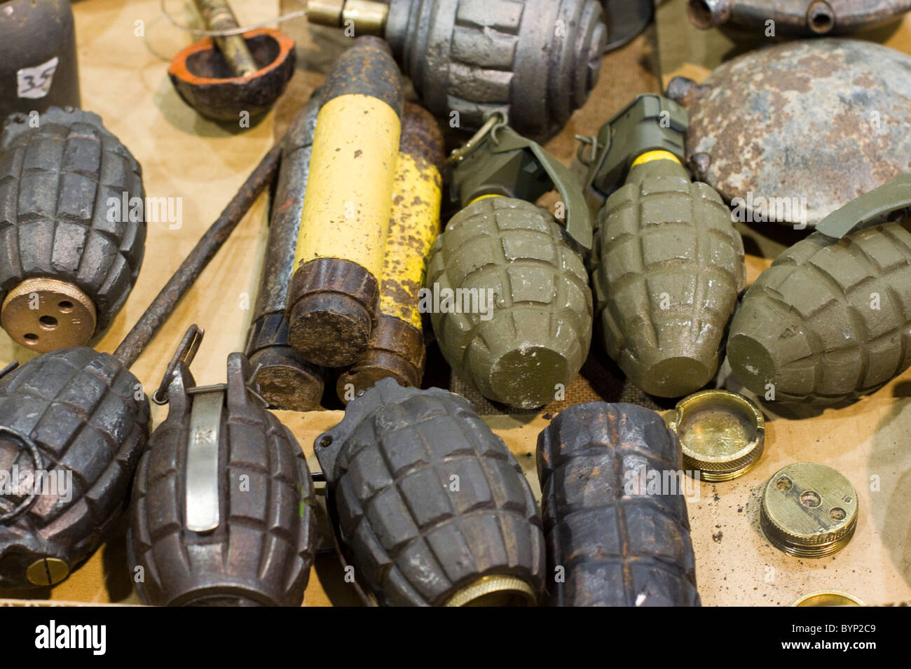 A Collection of Grenades on show at Stoneleigh Militaria Show - Stock Image
