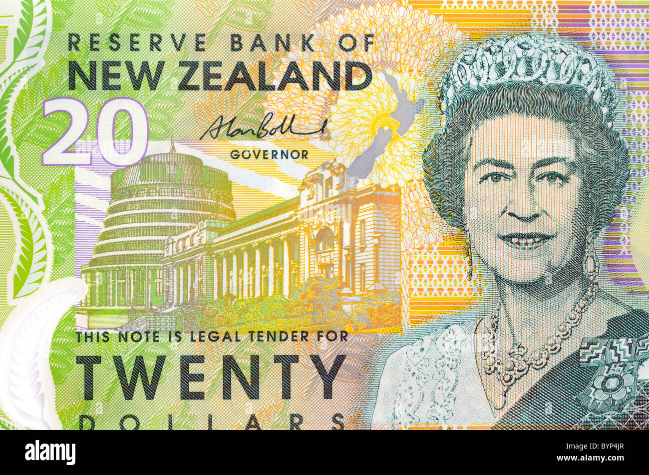 New Zealand Twenty 20 Dollar Note. - Stock Image