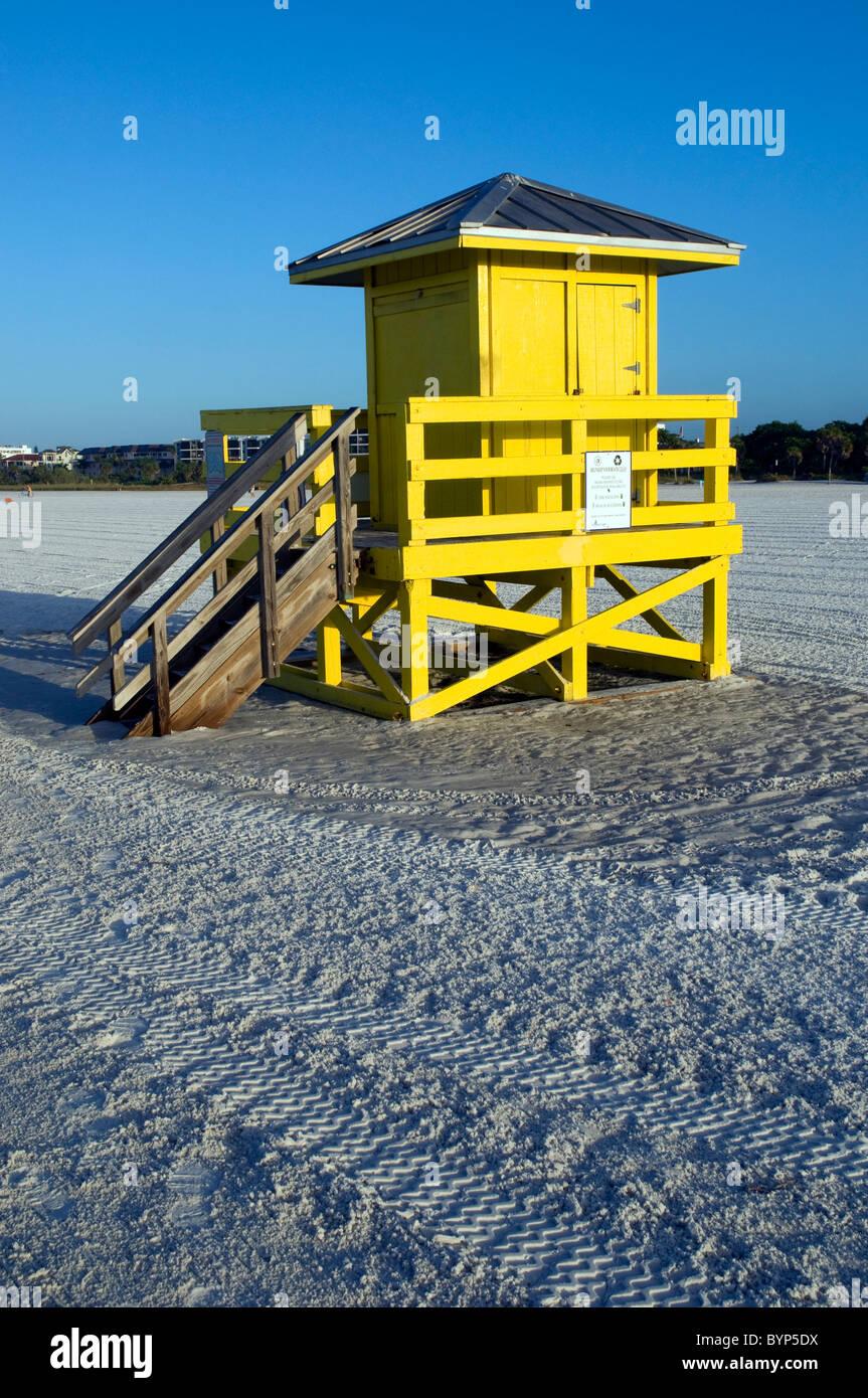 Lifeguard Hut at Dawn, Siesta Key Beach, Sarasota, Florida, USA - Stock Image