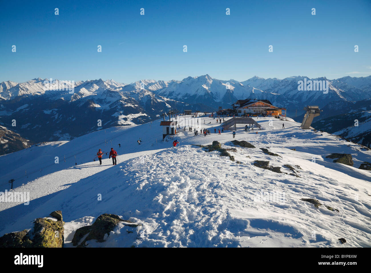 Skiing on the hill at Hochzillertal, Austria, Europe - Stock Image